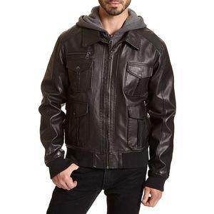 American Rag Faux leather black jacket w/hood